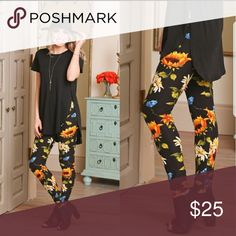 Coming soon! Like to be notified by price drop! Sunflower print leggings. Soft and comfortable. One size fits 2-12 comfortably. Infinity Raine Pants Leggings
