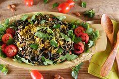 Black Squid Ink Spaghetti Salad with Tomatoes and Arugula