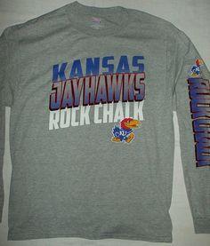 7b477ee3 UNIVERSITY KANSAS JayHawks NCAA College Long Sleeve Gray T-shirt L (42-44)  #HanesBeefy #KansasJayhawks