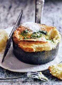 roasted garlic and potato souffles