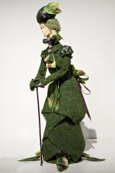 """One of the categories for the floral arranging competition at the @PA Horticultural Society's 2013 Philadelphia Flower Show is """"My Fair Lady."""" All of the ladies' costumes are composed of plant material. Downtown Abbey fans may recognize this lady as Violet, the Dowager Countess of Grantham. Photo by Patrick Montero for Organic Gardening"""