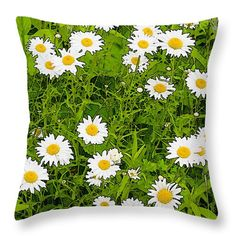 """""""Daisies"""" © E. B. Schmidt. All Rights Reserved. Floral art decor throw pillow. (Available as prints, canvas, metal, and more.) www.ebschmidt.com #art #schmidt #flowers #FloralDecor #daisies"""