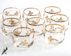 TheCordialMagpie on Etsy: Mid Century Federal Glass Lucky Clover Set of 8 Roly Poly Highball 22K Gold Shamrock Glasses