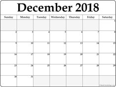 December 2018 Printable Calendar Templates December 2018 Calendar