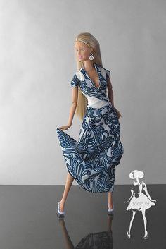 Длинное весеннее платье в пол барби и туфли из термоклея
