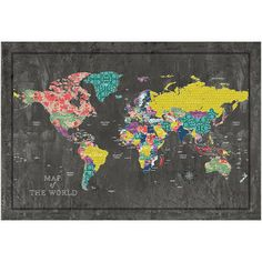 """Colorful World Map Canvas Wall Art, 48""""x32"""", Unframed, Posters ..."""