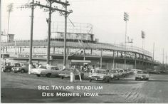 Sec Taylor Stadium, early 1970's. There's a Chevy Vega parked up front.