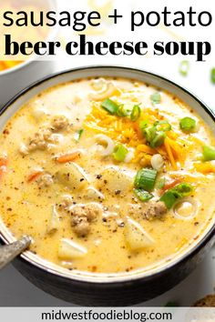 Beer Cheese Potato Soup with Sausage This hearty comforting beer cheese potato soup combines the best of both worlds marrying the timeless flavors of sausage and potato. Easy Soup Recipes, Crockpot Recipes, Cooking Recipes, Healthy Recipes, Top Rated Soup Recipes, Healthy Soups, Kitchen Recipes, Sausage Potato Soup, Potato Meals