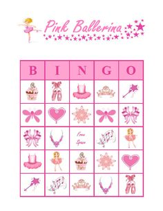 BIRTHDAY PARTY BINGO GAME! This listing includes a set of 30 unique Pink Ballerina bingo cards as a PDF file for you to download and print out. The