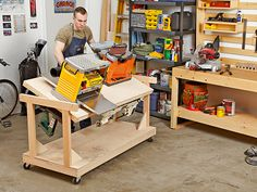 Flip-top Bench Woodworking Plan. For the space-starved woodworker, this tool stand is a lifesaver. With a rotating worksurface, it packs twice the tools in its footprint, conveniently rolling out of the way when it needs to be stowed. Featured in the September 2013 issue of WOOD.