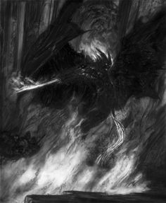 'Then with a rush it leaped across the fissure. Tolkien The Lord of the Rings The Balrog of Moria - Durin's Bane x Graphite Painting Sci Fi Fantasy, Dark Fantasy, Hobbit Art, Balrog, Concept Art World, Demon Art, Aesthetic Grunge, Red Aesthetic, Bane