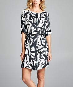Look what I found on #zulily! OVI Black & White Abstract Belted Dress by OVI #zulilyfinds