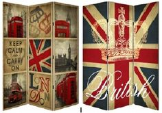 British Themes Folding Screen Union Jack and London scenes London Theme Rooms, London Decor, Room London, British Decor, British Pub, British Style, British Themed Rooms, Union Jack Decor, London Flag