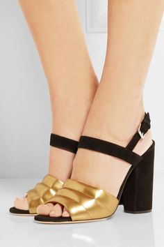 MARC JACOBS Metallic Leather and Suede Sandals | Buy ➜ http://shoespost.com/marc-jacobs-metallic-leather-suede-sandals/