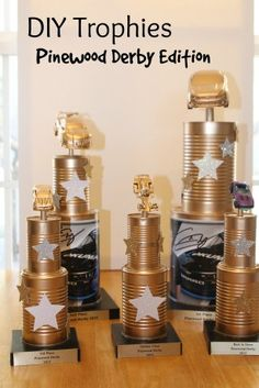 DIY Pinewood Derby Trophies - Yellow Tennessee DIY Pinewood derby trophies are simple to make yourself and they would be a great den project for any metal requirement. Cub Scouts, Girl Scouts, Anniversaire Hotwheels, Homemade Trophies, Diy Trophy, Trophy Craft, Pinewood Derby Cars, Scout Activities, Christmas Gifts For Girls