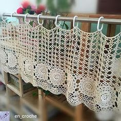 Handmade Coffee Curtain, crocheted door curtain, cotton cutwork curtain, crochet pattern window treatment for home decor Half Curtains, Door Curtains, Curtain Door, Valance, Curtains Living, Kitchen Curtains, Crochet Home, Hand Crochet, Moda Crochet