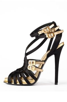 Roger Vivier Black and Gold Strappy Heels Stilettos, Pumps, Christian Louboutin, Chaussures Roger Vivier, Hot Shoes, Shoes Heels, Giuseppe Zanotti Heels, Sexy Heels, Black Heels