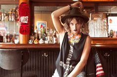 Lauren Ruth Ward wearing Szamanka Design Rio necklace for Brightside Boutique look book photo-shoot