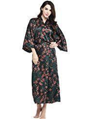 6c6a25ca15b3e3 ArtiDeco Damen Morgenmantel Maxi Lang Seide Satin Kimono Kleid Blüten  Muster Kimono Bademantel Damen Lange Robe