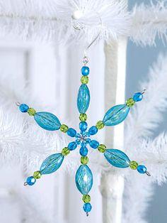 HEART Aqua Blue and White Beaded Mini Christmas Tree Ornament Set of 2; Aqua Blue Ice White Clear Beads; Blue and White Bead Mini Ornament