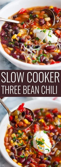Slow Cooker Three Bean Chili - A hearty, make ahead vegetarian chili that's deli. Slow Cooker Three Bean Chili - A hearty, make ahead vegetarian chili that's delicious any time of year. Skip the garnishes for a tasty vegan dish! Veggie Recipes, Whole Food Recipes, Cooking Recipes, Healthy Recipes, Healthy Food, Cooking Corn, Cooking Fish, Cooking Turkey, Cooking Games