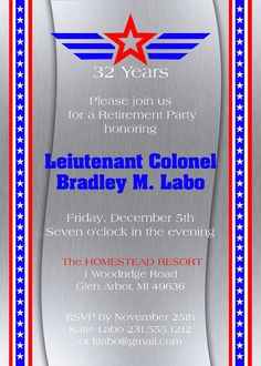 Military Retirement Invitation  Retirement by AnnounceItFavors