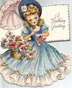 Vintage Die-Cut Birthday Greeting Card 3 Beautiful Girls in Ruffled Gowns Vintage Greeting Cards, Birthday Greeting Cards, Birthday Greetings, Vintage Postcards, Vintage Girls, Vintage Children, Vintage Pictures, Vintage Images, Little Doll