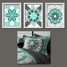 Very cool art for a teal/gray bedroom.  Love the bedding too.
