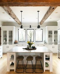 I love these beams and would really like to do something similar in our kitchen and attached bedroom to create a cozier atmosphere.