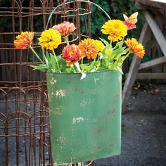 This Rustic Green Flattened Hanging Bucket has distressed finish and is beautiful, Visit Antique Farmhouse for more decorative hanging buckets. Farmhouse Style Decorating, Farmhouse Decor, Porch Decorating, Rustic Decor, Modern Farmhouse, Distressed Doors, Painted Fox Home, Painted Metal, Tin Buckets
