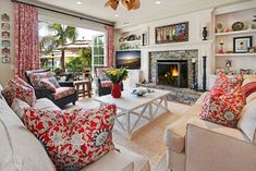 living room by Darci Goodman Design.  Love that Ralph Lauren Cote d'azur fabric!  So cheerful!