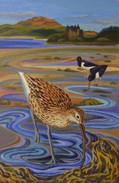 Curlew wading about tioram castle, ardnamurchan. Bird Wall Art, Bird Artwork, Wildlife Paintings, Wildlife Art, Africa Dress, State Birds, House Improvements, Shorebirds