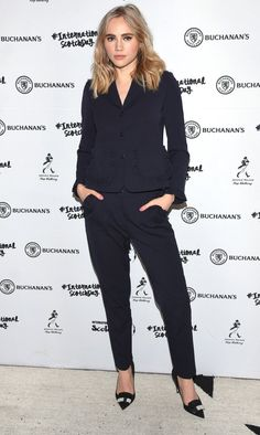 Suki Waterhouse in a black suit