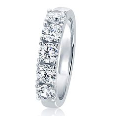 TVS-JEWELS Gold Plated Sterling Silver 925 Mens Band Ring Channel Setting Five Stone White CZ