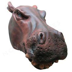 HIPPO OVERHEAD SAFARI ANIMAL MASK Unisex Fancy Dress Costume Accessory