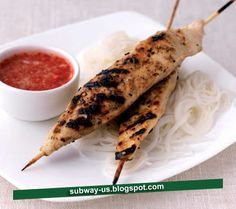 lemon soy skewered chicken with hot dipping sauce recipe