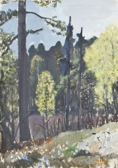 Otto Mäkilä (Finland Forest Pond mixed media 41 x 29 cm Lawrence Lee, Antique Paint, Modern Artists, Tree Art, Artist Painting, Art Pictures, Finland, Pond, Mystic