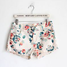 Womens White Bleached Flower Print Low Waist Shorts