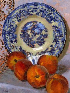 Angie Wood Art: Willow Pattern Plate and Peaches Still Life Drawing, Still Life Art, Joy Art, Willow Pattern, Fruit Painting, Learn Art, Fruit Art, Delft, Pattern Art