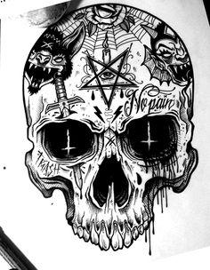 Sac Tutorial and Ideas Tattoo Design Drawings, Skull Tattoo Design, Skull Tattoos, Tattoo Sketches, Body Art Tattoos, Art Sketches, Sleeve Tattoos, Tattoo Designs, Tattoo Ideas