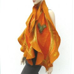 Nuno felted scarf silk and wool  Unique yellow scarf by MajorLaura, $85.00
