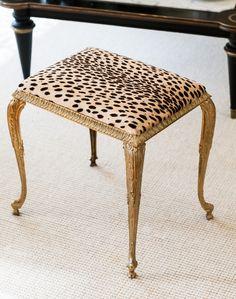Vintage Leopard Print Bench