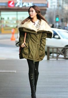 Long warm hooded faux fur detail coat parka - kaki