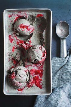 Vegan Coconut Black Sesame-Ice Cream with Strawberry Swirl - @Rodelle