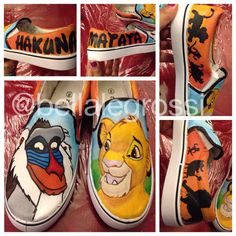 Hand Painted Lion King sneakers by BellaLegrossi on Etsy