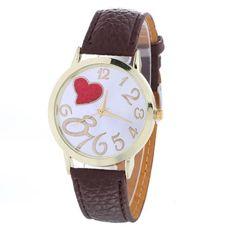 Fashion Women Watch Wristwatch Love Heart Pattern- PU Leather Watch