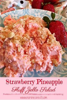 Fluffy, Scrumptious Strawberry Jello Fluff with chopped fresh strawberries, bits of pineapples, mini marshmallows and coconut cookie crumbs on top. Its the BEST EVER Fluff Salad. Perfect for Family Gatherings or Summer Potlucks and BBQ's. Jello Dessert Recipes, Dessert Salads, Fruit Salad Recipes, Fruit Salads, Pudding Recipes, Strawberry Fluff, Strawberry Pretzel Salad, Pineapple Pretzel Salad, Strawberry Jello Cake