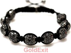 10KT GOLD MENS DIAMOND BEADS BRACELET 15.17 CARAT BLACK DIAMONDS