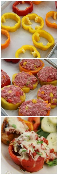 Meatloaf Pepper Rings Mini Meatloaf Pepper Rings-These stuffed peppers make a delicious one-pot supper! They are low-carb too!Mini Meatloaf Pepper Rings-These stuffed peppers make a delicious one-pot supper! They are low-carb too! Comidas Light, Good Food, Yummy Food, Beef Dishes, Meat Dish, No Carb Diets, Healthy Snacks, Healthy Eating, Dinner Healthy