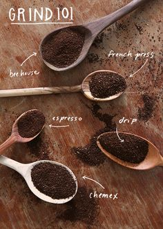 Grind 101 - a handy visual aid for your favorite brewing method via Stumptown gournet specialty coffee chocolate green bean flavors costa rica brazil colombia panama Espresso Coffee, Coffee Cafe, Best Coffee, Coffee Drinks, Coffee Shop, Coffee Barista, Coffee Lovers, Iced Coffee, Latte Art
